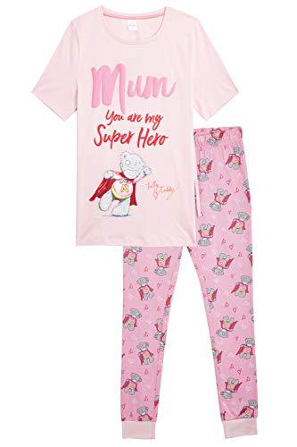 Me To You Pijamas Invierno Mujer Tatty Teddy, Conjunto de 2 Piezas Camiseta de Manga Corta y Pantalón Largo Estampado Osito, Ropa de Dormir Algodón Suave 100%, Regalos para Madres Tallas 36-50 (S)