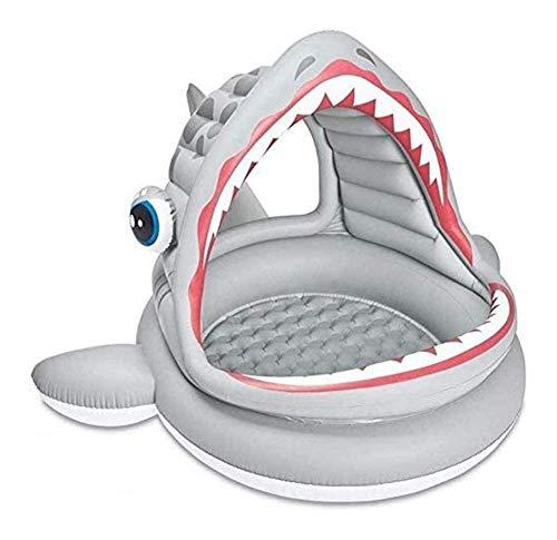 JCCOZ -URG - Piscina inflable de tiburón de boca grande para niños, piscina de sombra de centro de juegos, piscina de 201 x 198 x 109 cm, piscina familiar, fiesta de agua de verano al aire libre URG