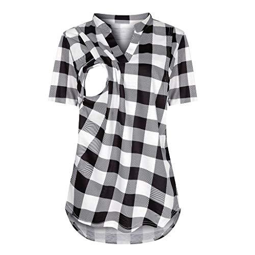 pitashe_Stillshirt Damen Nursing Shirt Maternity Nursing top Double layer Solid Colour Wild Fashion Solid grau-c0723 xl