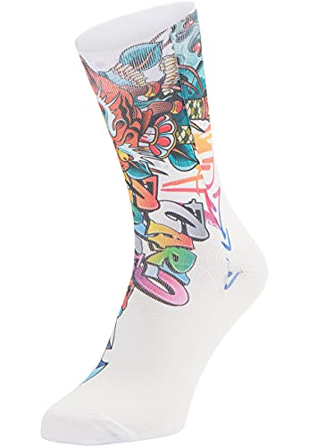 Carlo Colucci Bedruckte Socken im Graffiti-Style, 1er Pack Weiß 43-46