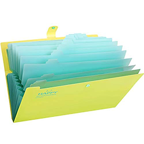 Skydue Expanding File Folders 12 Pockets Accordion File Folder A4 and Letter Size Paper Document Organizer Folders for School Office (Green)