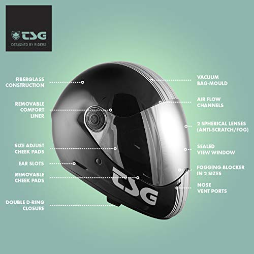 TSG - Pass Pro Graphic Design Full-face Helmet, Silver Stripe w/Two Visors | Performance Helmet for Downhill Skateboarding, E-Skating, E-Onewheeling, Longboarding | Silver Stripe, Small