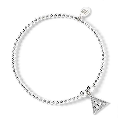 The Carat Shop - Braccialetto con perline a forma di palla di Harry Potter, con ciondolo a forma di doni della morte, impreziosito da cristalli Swarovski®