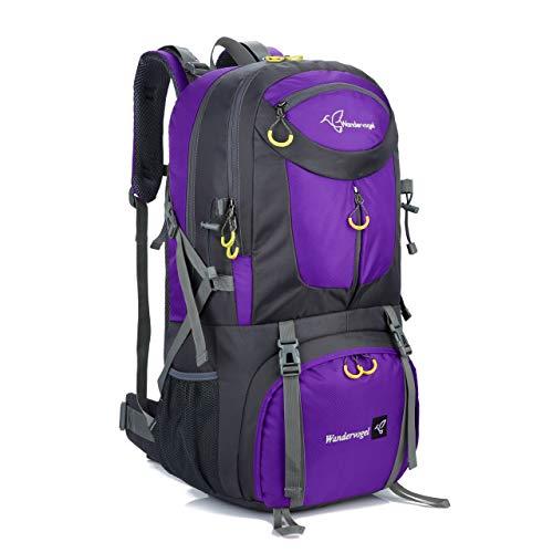 Rucksack Wanderrucksack Leicht Wasserfest GROßE Kapazität von 50L Perfekt zum Wandern, Reisen, Bergsteigen, und für Sport und Camping (Violett)