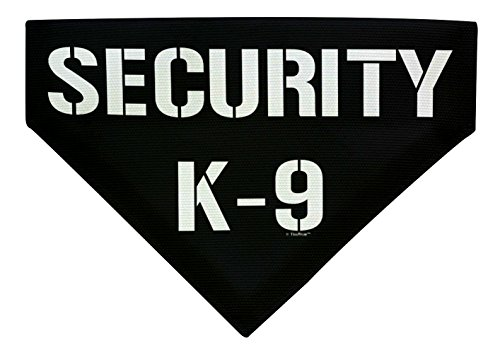 ThisWear Funny Dog Accessories Security K9 Gifts for Dog Lovers Large Dog Bandana Scarf for Dogs Bib Black