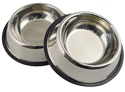 Guilty Gadgets Comedero de acero inoxidable de 500 ml, antideslizante, para perros, cachorros, gatos, mascotas, animales, alimentos, agua, para interiores y exteriores, paquete de 2