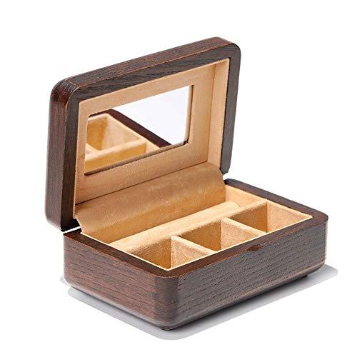 Schmuckkästchen Schmuckschatulle Schmuckkästchen aus Holz Mini-Koffer einfache bewegliche Mit Spiegel Klassische Samt-Aufbewahrungsbehälter for Ring-Halskette L