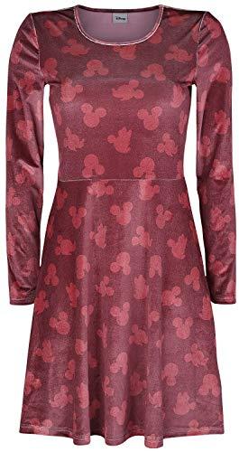 MICKEY MOUSE Micky Maus Micky und Minnie - Silhouetten Frauen Mittellanges Kleid Bordeaux L