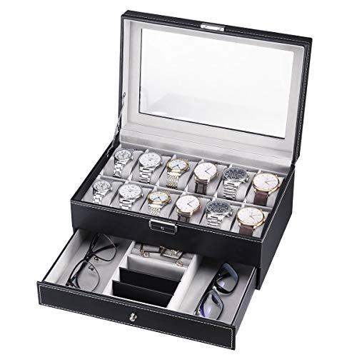 CRITIRON Caja para Relojes, Joyas e Gafas, Organizador de Relojes para Hombre, Exhibición de Gafas, 2 Capas Vitrina de Hebilla Metálica, Vidrio Acrílico
