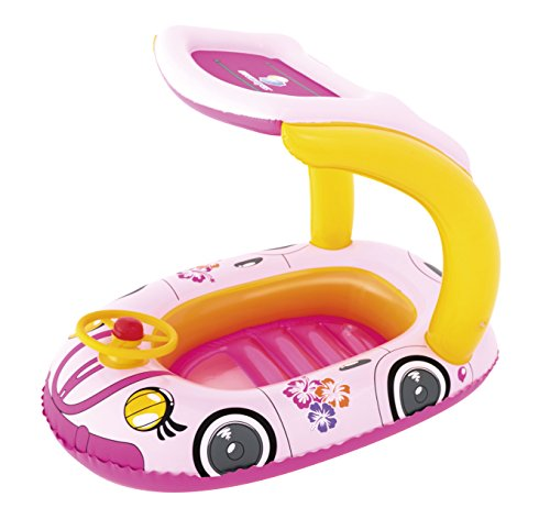 Bestway Boot mit Lenkrad und Sonnendach Babypool UV Schutz (ROSA)