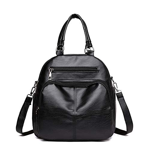 YLLHK Multifunctional Women's Mini Backpack, Soft and Comfortable PU Leather Zipper Shoulder bag, Large Capacity Travel Handbags, Suitable for School, Shopping Travel and Daily Life,Black