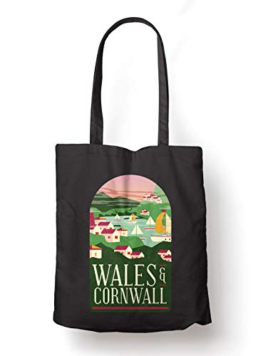 BLAK TEE Wales and Cornwall Illustration Organic Cotton Reusable Shopping Bag Black