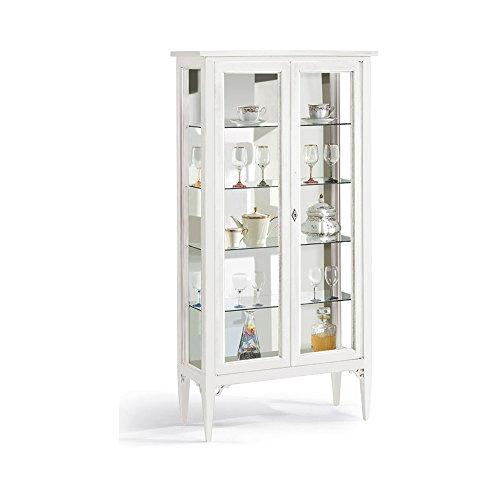 Vetrina, stile classico, in legno massello e mdf con rifinitura in bianco opaco - Mis. 89 x 34 x 170