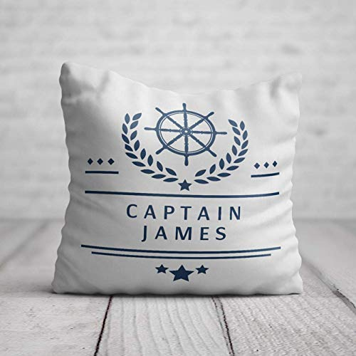 Boat Captain Cushion for him - Personalised Boating Birthday Gift for Men - Nautical Birthday Present - Yacht Pillow with Name 40 x 40cm / 16 x 16in
