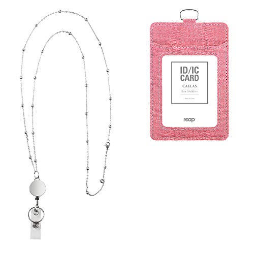 PU Leather ID Badge Holder for Women with Retractable Badge Reel Lanyard Stainless Steel Beaded Chain Necklace