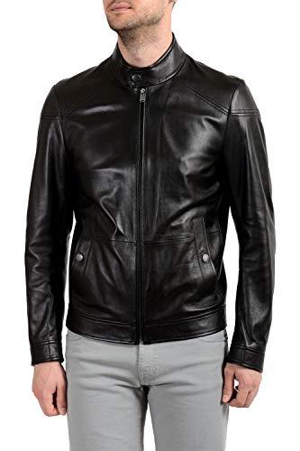 "Hugo Boss""Nocan"" Men's 100% Leather Black Full Zip Jacket Sz US XS IT 46"