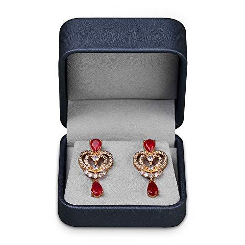 Oirlv Joyero para pendientes, día de San Valentín, cumpleaños, caja de regalo de cuero azul oscuro, caja de regalo para joyas, pendientes y