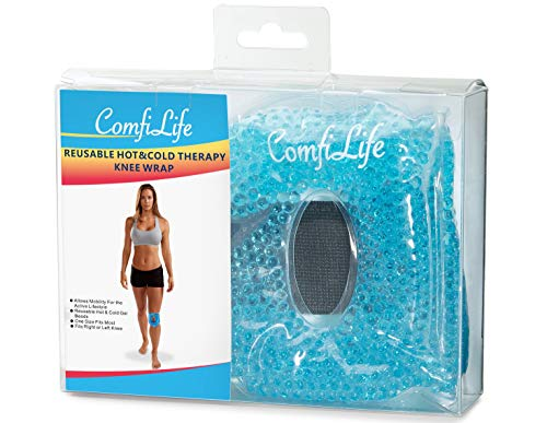 ComfiLife Knee Ice Pack for Injuries - Reusable Hot & Cold Therapy Knee Wrap with Gel Beads - Flexible, Freezable & Microwavable