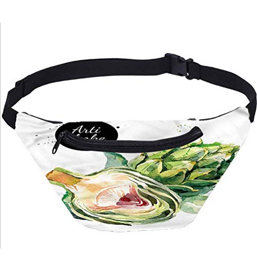Artichoke Travel Fanny Bag,Going Green Food Waist Pack for Adult Coworker