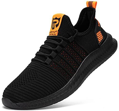 LARNMERN Zapatillas Hombres Mujer Transpirables Running Asfalto Zapatos(Naranja43)