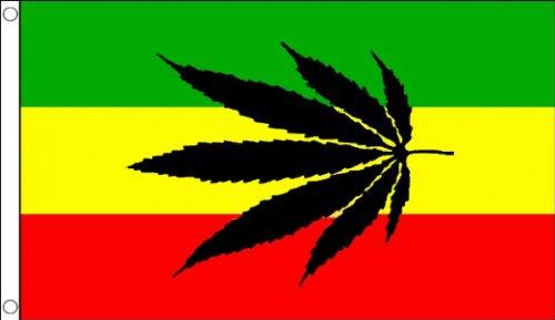 Rastafari-Flagge mit Cannabis-Blatt, 150 cm x 90 cm, 100% Polyester, ideal als Dekoration, für Partys und Events