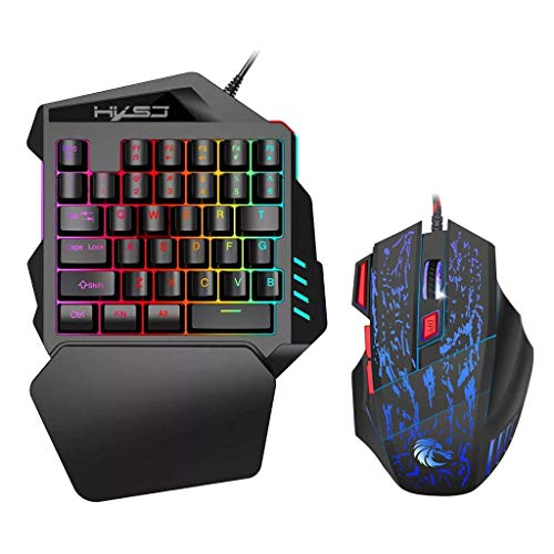 Aibote Mini 35 Keys One-Hand Mechanical Keyboard and Mouse Combo,New Upgraded V100 Gaming Keyboard with Colorful LED Backlit for PC Computer Smartphones LOL/PUBG/Fortnite/Wow/Dota/OW