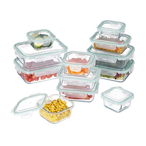 Relaxdays Frischhaltedose 12er Set, mit Clip-Deckel, bpa-frei, hitzebeständig, 5 Größen, eckige Glasdosen, transparent
