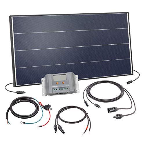 Solar Set 100 Watt Solarmodul mit 30A Laderegler - inkl. 5m MC4 Solarmodulleitung und Akkuleitung mit Sicherung - Solar Bausatz Inselanlage autarke Stromversorgung Camping Wohnmobil, esotec 120052