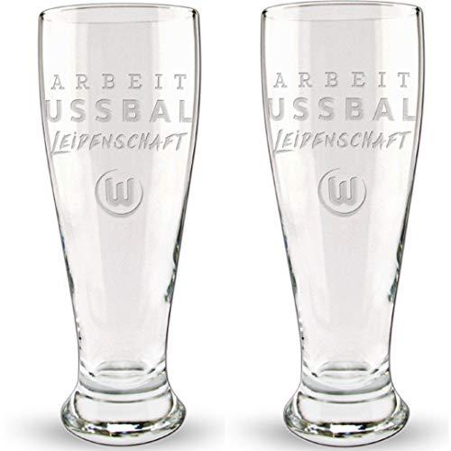 VfL Wolfsburg A-F-L Weizenglas 2er Pack (one Size, transparent)