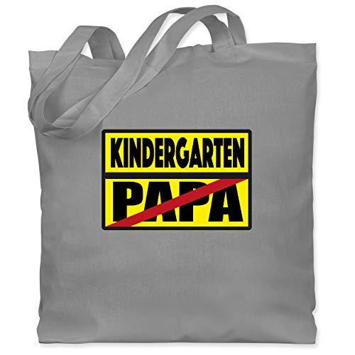 Kindergarten - Kindergarten Schild Papa - Unisize - Hellgrau - Verbotsschild - WM101 - Stoffbeutel aus Baumwolle Jutebeutel lange Henkel