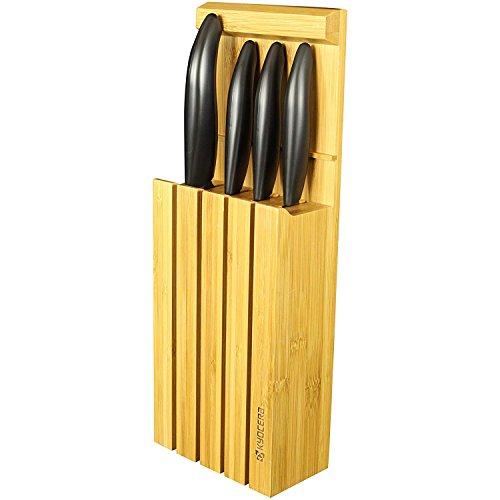 Kyocera KNIFE BLOCK SET4WHBK Set céramique d'office 7,5 cm, Utilitaire 11 cm, Universelle 13 cm, Lame Santoku 14 cm et Bloc Bambou pour 4 Couteaux, Noir, 34 x 12,3 x 6,6 cm