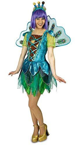 Körner Festartikel Pfau Kostüm für Damen mit Flügeln Gr. 44 46 - Tolle Tier Vogel Schmetterling Verkleidung für Erwachsene