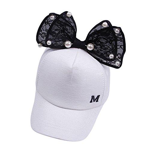 Mamum Enfants Mignons Enfants Perle Bowknot Bongrace Chapeau Pointe Streak m Casquette de Baseball Sunhat (Blanc)