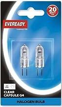 Eveready 2X 20W 12V G4 Dimmable Halogen Capsule Light Bulbs - Pack of 2