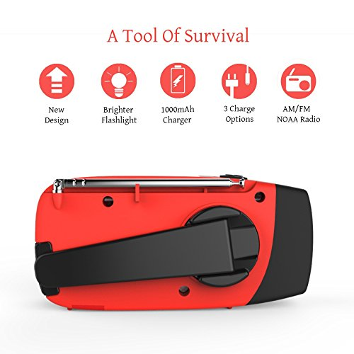 Product Image 5: [Upgraded Version] RunningSnail Emergency Hand Crank Self Powered AM/FM NOAA Solar Weather Radio with LED Flashlight, 1000mAh Power Bank for iPhone/Smart Phone