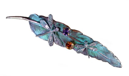 Elaine Coyne Dragonflies on Feather Long Pendant - Swarovski Crystals