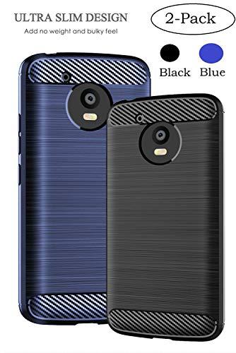 Motorola Moto E4 Case, Sfmn 2-Pack Carbon Fiber Brushed Texture Soft TPU Full-Body Protective Cover Phone Case for Moto E 4th Generation USA Version XT1768 (Black+Blue)