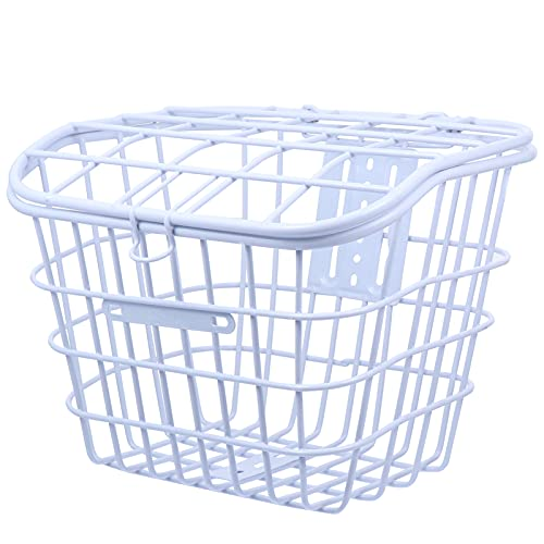 VOSAREA White Rust Proof Quick Release Front Handlebar Bicycle Basket Wire Mesh Bike Basket with Lid