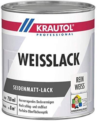 Krautol Weißlack seidenmatt Acryl-Weißlack für innen & außen, 750 ml