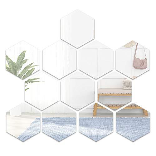 YapitHome 12 Pcs Espejos Autoadhesivos Azulejos Espejo Pegatinas De Pared Espejo 3D Hexágono Adhesivos Acrílicos Para Dormitorio Tv Pared Baño Pasillo Decoración De La Pared (7.2 * 6.3 Pulgadas)