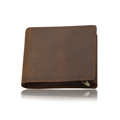 HRS Genuine Leather Wallets for Men-Handmade Vintage Italian Distressed Large Bifold Men's Wallet with RFID Blocking ID Window and Zipper