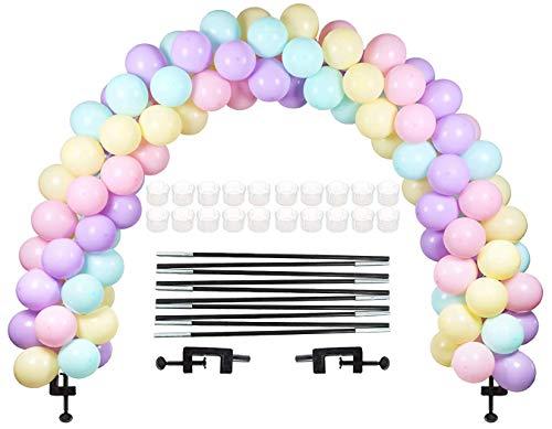 LANGXUN Kit Arco Palloncino Nero, Kit Arco semicircolare Arco Palloncino 2 Clip Regolabili per Diverse Dimensioni del Tavolo per Matrimoni di Compleanno e Feste di Laurea