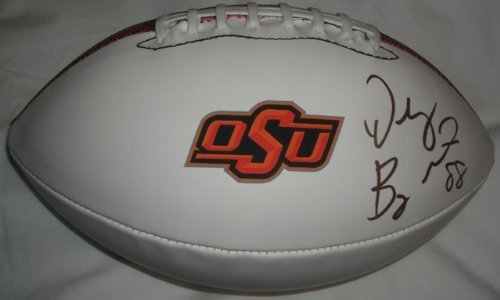 Dez Bryant Autographed Oklahoma State Cowboys Logo Football W/PROOF, Picture of Dez Signing For Us, Dallas Cowboys, Oklahoma State Cowboys, 2010 NFL Draft
