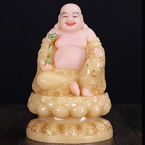 LLKOZZ Estatua De Buda Maitreya, Topacio De Mármol Blanco con Estatua De Buda De Oro Que Se Ríe, Utilizada For El Culto En El Hogar Y La Decoración De Oficinas, 17 × 28 Cm