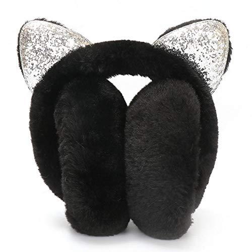 Ohrenschützer Kinder - Plüsch- Und Flip-Pailletten-Design Verstellbarer Winter Ohrenschützer Cartoon Pailletten Katzeohren Ohrenwärmer Als Geschenk Für Mädchen