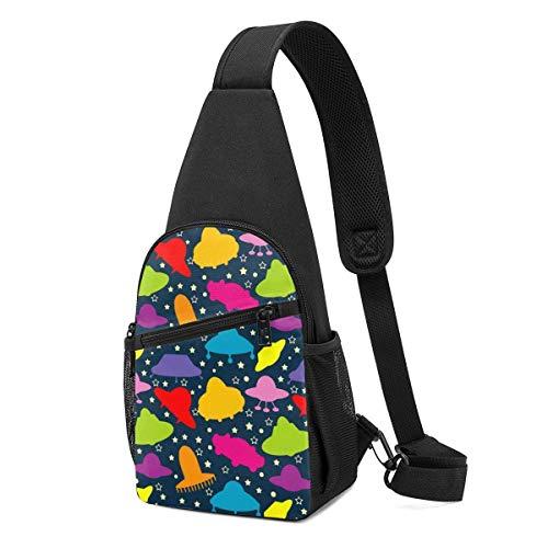 Sling Bolsas para Niños Crossbody Mochila Espacios Coloridos Bolsas Hombro Daypacks Resistente a las Arrugas Viaje Resistencia Fanny Pecho Paquetes