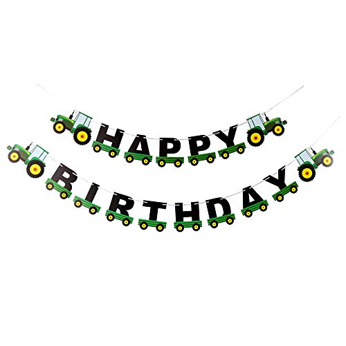 Tractor Happy Birthday Banner, Birthday Banner Tractor Garland Bunting, for Birthday Decoration Tractor Party Supplies (Green)