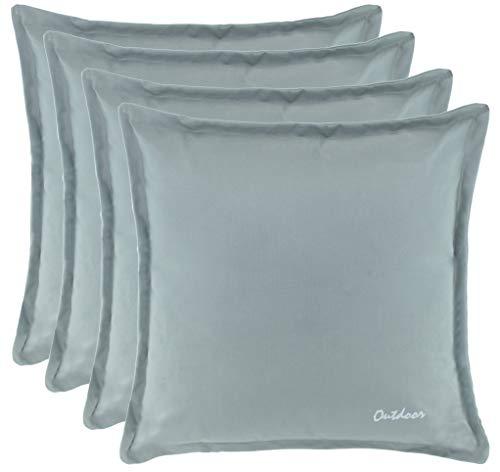 Brandsseller Outdoor Kissen Dekokissen - Schmutz- und Wasserabweisend mit Reißverschluss 2 cm Steg - 350 gr. Füllung - Größe: 48 x 48 cm - Farbe: Hellgrau - 4er Vorteilspack