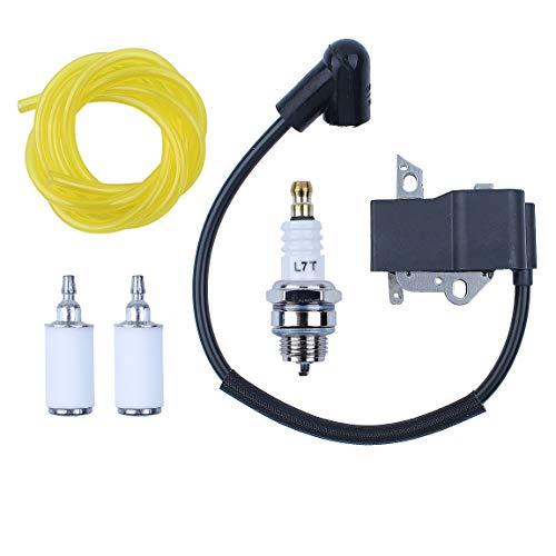 Haishine Kit de línea de Filtro de Combustible de bujía de Encendido de la Bobina de Encendido de para Husqvarna 125E 125C 125L 125R 125RJ 128R 128LD 128C 128CD Desbrozadora Trimmer