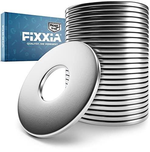 FIXXIA® Arandelas de acero inoxidable M10 – [juego de 25 unidades] – acero inoxidable V2A – DIN 9021 – arandelas para carrocería – gran diámetro – arandelas de fijación